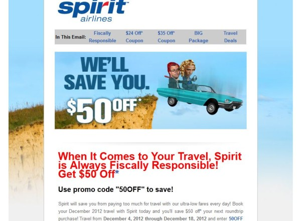spirit airlines newsjacking email