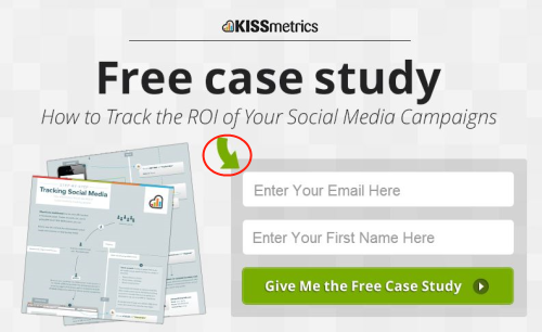 directional cue in Kissmeterics webform