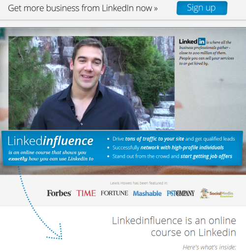 Linkedinfluence sales page