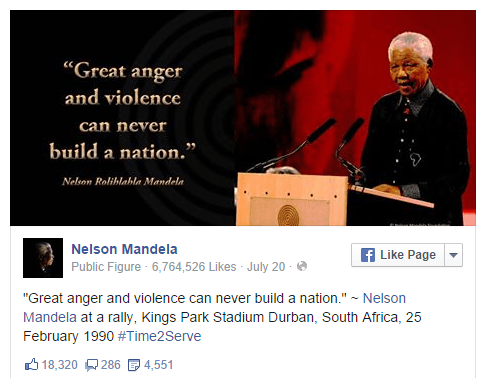 visual content marketing using Nelson Mandela quote