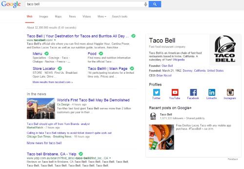 Taco Bell on Google