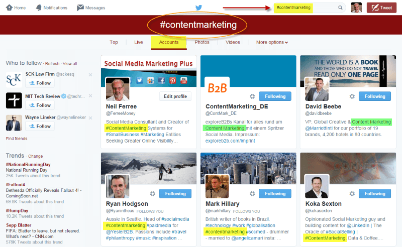 Content Marketing Hashtag on Twitter