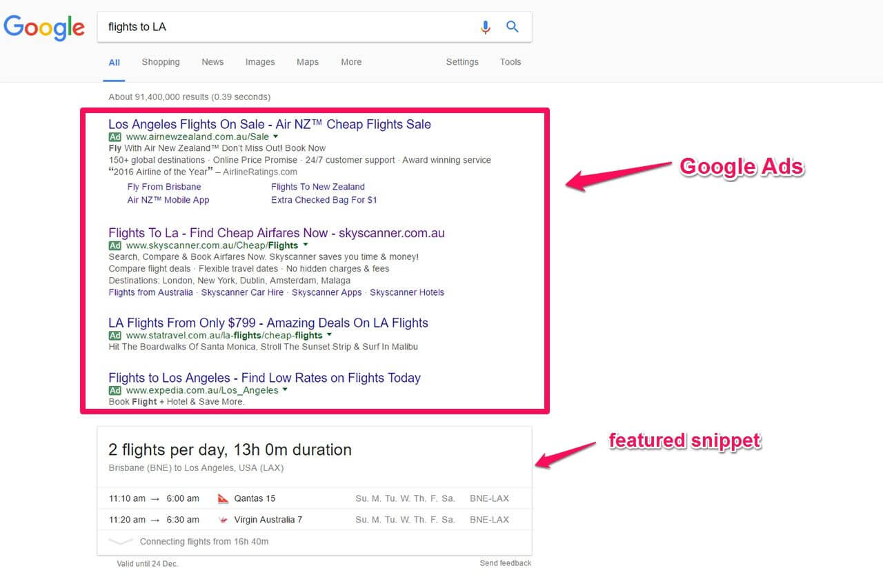 Google featured snippets - table