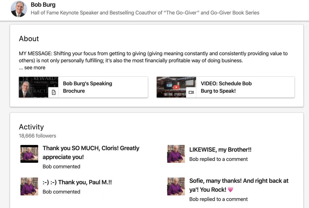 Bob Burg using video on his LinkedIn profile page