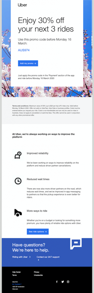 Uber fostering a referral marketing strategy by creating great user experiences